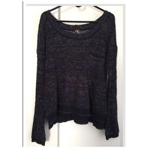 Free People Blue Knit Pullover Sweater. Size L.